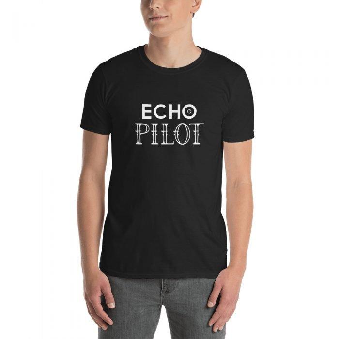 Echo Pilot White Logo on Black Short-Sleeve Unisex T-Shirt