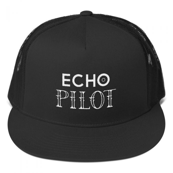 echo pilot hat black and white with white lettering
