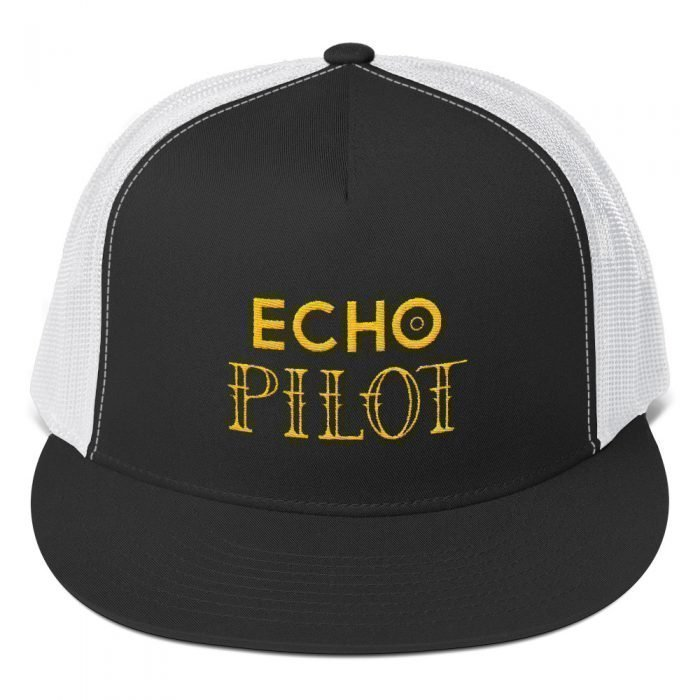 echo pilot hat black and white with yellow lettering
